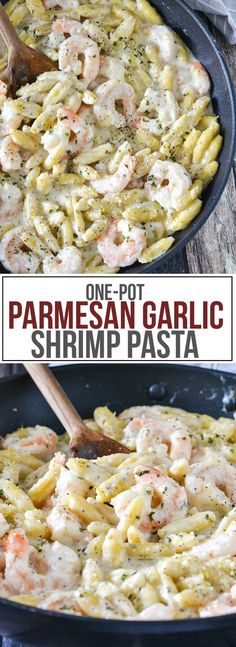 One-Pot Parmesan Garlic Pasta Looking for a quick and easy meal for a busy weeknight? Try this delicious One-Pot Parmesan Garlic Shrimp Pasta ready in under 30 minutes! I Love Food, Good Food, Yummy Food, Tasty, Shrimp Dishes, Pasta Dishes, Pasta Food, Pasta Bake, Seafood Recipes