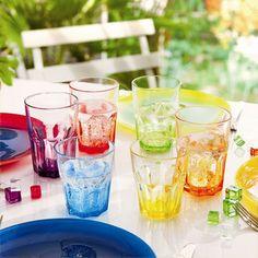 Gobelet à eau en verre Coloré - Set de 6 assortis AMERICA CRAZY COLORS