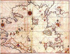Aegean Sea Map by Piri Reis Old Maps, Antique Maps, Piri Reis Map, Battle Of Lepanto, Alexandre Le Grand, Empire Ottoman, Nautical Chart, City Maps, Cartography