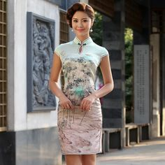 Luxury Bamboo Trees Ink Printing Silk Qipao