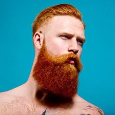 bright surreal portrait of Gwilym Pugh - thick full long red beard and mustache beards bearded man men art photography photo shirtless bearding redhead ginger #beardsforever