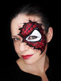 One stroke Spider-Man face paint. Inspired by Olga Murasev