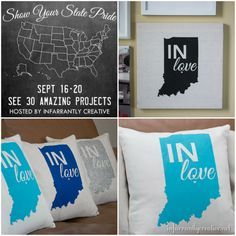DIY Home Decor | Get the FREE FILE to make your own Indiana state pride pillow and wall canvas!