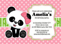 Panda Party Invitation Panda Invitation Panda Party Invite