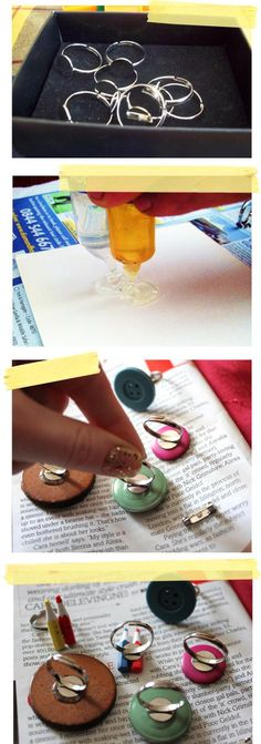 button up craft tutorial DIY jewellery making rings clips brooches from vintage buttons