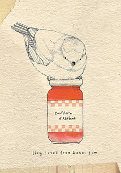 Kate Wilson's Artwork, love it! Ooh...what a jammy bird by Little Doodles, via Flickr