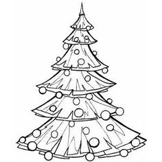 Big Christmas Tree coloring page for kids