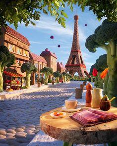 increíbles paisajes hechos con comida