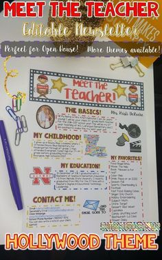 Looking for a cute newsletter to use at Open House or the first days of school to introduce yourself! This newsletter is editable! This cute Hollywood Theme Newsletter isn't the only theme available! Matching Meet the Student Activity also available!