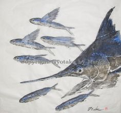 "Blue Flash - A lightning strike by a young ""Au"", a pacific blue marlin splitting up a group of flying fish, ""Malolo""."