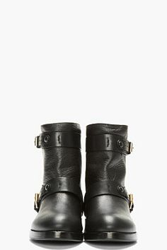 CHLOE Black Leather Double Buckle Moto Boots