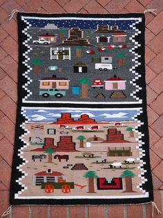 Navajo Day And Night Pictorial Rug