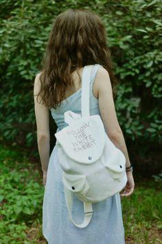 Alice in Wonderland bag, White fluffy Backpack, velour rucksack, Follow the white rabbit, Alice's Adventures in Wonderland, furry purse
