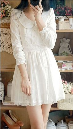 Refreshing Lace Peter Pan Collar Puff Sleeve White Women's Dress