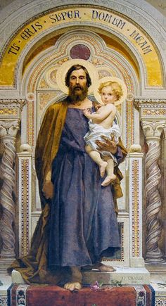 Joseph, terror of demons, protector of virgins, head of the Holy Family. St Joseph Catholic, Catholic Art, Catholic Saints, Roman Catholic, Christian Images, Christian Art, Religious Images, Religious Art, Catholic Pictures