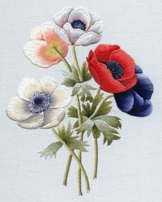 Wonderful Ribbon Embroidery Flowers by Hand Ideas. Enchanting Ribbon Embroidery Flowers by Hand Ideas. Paper Embroidery, Silk Ribbon Embroidery, Crewel Embroidery, Embroidery Thread, Cross Stitch Embroidery, Machine Embroidery Designs, Embroidery Patterns, Doily Patterns, Flower Embroidery