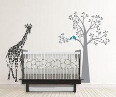 Giraffe And Tree decal Giraffe Silhouette Safari decal by OwlHills, $72.00