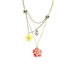 Flower Three Row Necklace