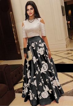 Buy Fashionlife White and black embroidered Silk lehenga with choli Online Long Gown Dress, Lehnga Dress, The Dress, Indian Lehenga, Indian Gowns, Lehenga Choli, Black Lehenga, Lehenga Style, Long Skirt Formal