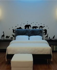 African safari animals kids room wall decal (Giraffe, Monkey, Birds, Elephant and more) Each animal varies in size. The average size is inches wide and tall for each anim Kids Room Wall Decals, Animal Wall Decals, Wall Decal Sticker, Vinyl Decals, Room Stickers, Wall Art, Safari Room, Safari Animals, African Safari