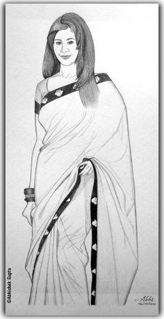 Woman In Saree Pencil Sketch Drawings Pinterest Pencil Art