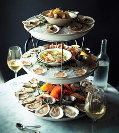 Looks like The Ordinary! Ahh, the best! Ahhh the Ordinary! Amazing tower of awesomeness! Seafood Tower, Seafood Restaurant, Restaurant Recipes, Ocean Restaurant, Seafood Menu, Seafood Market, Restaurant Design, Bon Appetit, Best Oysters