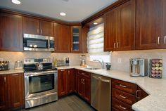 New Kitchen Wood Cabinets Cherry Granite Countertops 24 Ideas Brown Cabinets, Wood Kitchen Cabinets, Kitchen Redo, Kitchen Flooring, Cherry Cabinets, Kitchen Ideas, 10x10 Kitchen, Kitchen Updates, Kitchen Designs