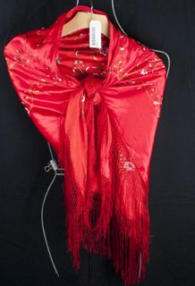 VINTAGE RED SILK FLORAL EMBROIDERED FRINGED SHAWL. A ELEGANT BEAUTY TO ADD TO YOUR COLLECTION.