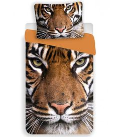 This Tiger single duvet cover set   features a detailed photographic style print of a stunning tiger face in natural tones of brown, white and black. Made from 100% cotton. Free UK delivery available.