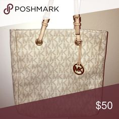 Michael Kors Large bag! Condition inside bag and the straps are fair due to being worn often. It's been shown a lot of love so inside is worn as well. Exterior material is still in good condition! This is an authentic MK bag. One of my favorite tote bags! ☺️ Michael Kors Bags Totes