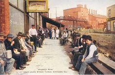 """early postcard """"Whiskey Row"""" near Chicago's Union Stock Yards"""