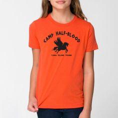 Camp Half-Blood Tee Halloween costume halfblood book story movie Percy Jackson boys new Kids YOUTH ORANGE T-SHIRT