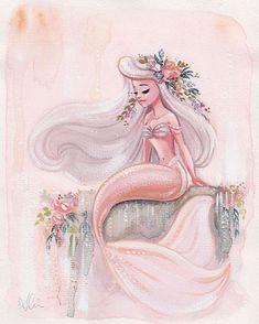 Fantasy Mermaids, Unicorns And Mermaids, Mermaids And Mermen, Mermaid Artwork, Mermaid Drawings, Mermaid Paintings, Mermaid Sketch, Mermaid Pictures, Gouache Painting