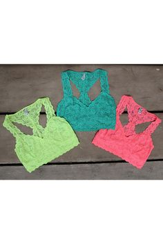 Layla Neon Color Lace Racerback Bralettes