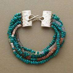 Turquoise with prehnite, moonstone, chalcedony labradorite, sunstone, and quartz.