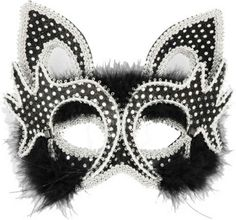 Cat Mask Black Marabou and Sequin