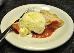 I don't like strawberries in my rhubarb pie. But I saw this recipe for rhubarb/raspberry pie and I was intrigued. So I tried it. It was excellent. Both the raspberries and the rhubarb flavors came through wonderfully and it was not too sweet. .