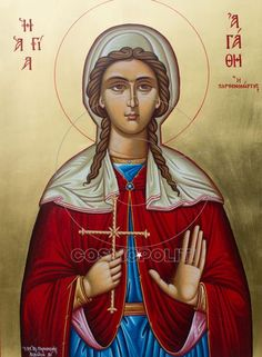 Saint Agatha - Last Words of Seven Saint Martyrs, Past and Present Byzantine Icons, Byzantine Art, Roman Church, Orthodox Christianity, Orthodox Icons, Christian Art, Kirchen, Palermo, Catholic