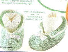 babucce uncinetto bianche gialle verdi 2