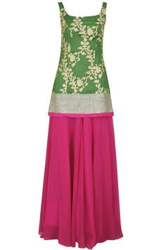 Olive embroidered kurta with pink sharara and lavender dupatta available only at Pernia's Pop-Up Shop.