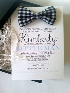 Custom Cloth Bowtie Baby Shower Invitation in Box by stampandseal on Etsy https://www.etsy.com/listing/177209371/custom-cloth-bowtie-baby-shower