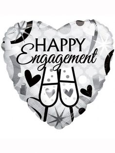 """Balloon: 18"""" Happy Engagement Heart Foil Balloon (each) (Inflated price £3.50)"""