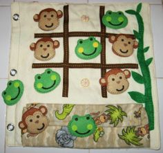 Tic Tac Toe quiet book page. Monkeys and frogs. Magnets in the board and pieces. Made by Candy