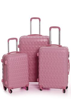 Palazo Portofino - 3-Piece Diamond Pattern Spinner Luggage in Dusty Rose