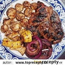 Grilované hříbky recept - TopRecepty.cz Sausage, French Toast, Stuffed Mushrooms, Meat, Breakfast, Food, Stuff Mushrooms, Morning Coffee, Sausages
