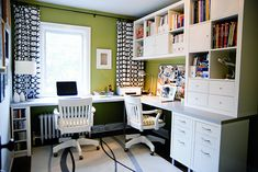 love the green on the walls and the crisp white furniture, not to mention how organized it is