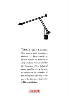 The #Tizio lamp, #design by Richard Sapper in our #ArtemideDictionary