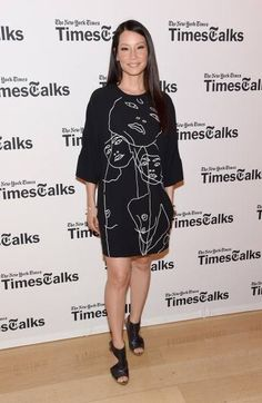 Lucy Liu wearing Stella McCartney autumn '14 collection - James Dress embroidered with a drawing by Gary Hume at Times Centre, NYC