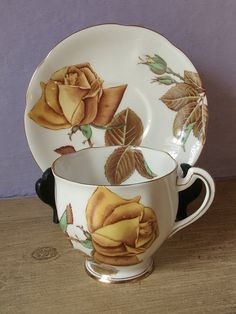 vintage yellow rose tea cup and saucer set Royal