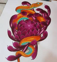 Koi Tattoo Design, Flower Tattoo Designs, Flower Tattoos, Black Tattoos, Asian Tattoos, Body Art Tattoos, Japanese Snake Tattoo, Japanese Tattoo Designs, Flor Oriental Tattoo